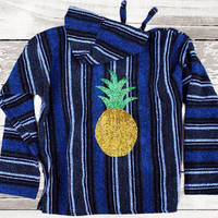 Pineapple Poncho Hooded Mexican Serape - Sequin Patch Hoodie
