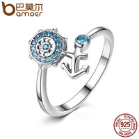 BAMOER 925 Sterling Silver Blue Crystal Anchor & Rudder Finger Ring for Women Fashion Engagement Ring Jewelry SCR005