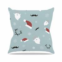 "Louise ""Happy New Year!"" Christmas Teal Santa Outdoor Throw Pillow"