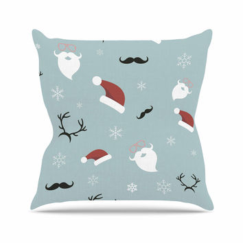"Louise ""Happy New Year!"" Christmas Teal Santa Throw Pillow"