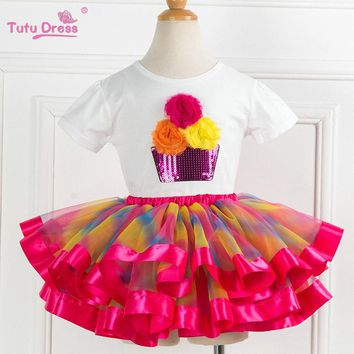 Two pieces KId Girl Set  Tutu Summer Flower Cotton T-shirt+Tutu Skirt Sets Children Outfits Dance Party Prom Clothing