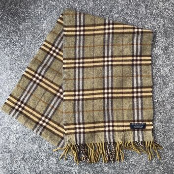 Vintage BURBERRY Scarf Lambswool Wool Green Nova Check - (DP099)