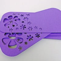 Large Flower Child Tags  -- Qty 20 Tags -- Purple Flowers Cut Outs -- Custom Sizes and Shapes Available