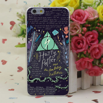 Harry Potter and the Deathly Hallows Colorful Sticker Case Cover for iPhone 4 4S 5 5S SE 5c 6 6s 7 7 Plus