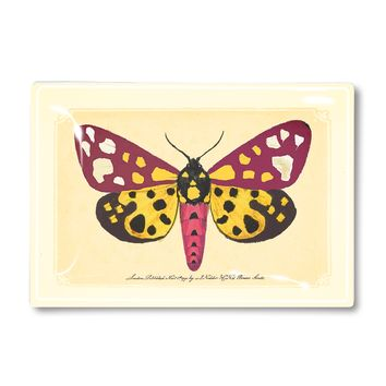 Yellow and Pink Lollipop Butterfly Decoupage Glass Tray