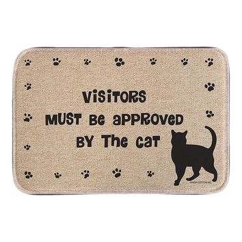 Autumn Fall welcome door mat doormat Entrance  With Cat Sign Visitors Must Be Approved Cute Animals Home Decor s Short Plush Fabric Bathroom Mats AT_76_7