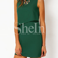 Sleeveless Ruffle Zipper Back Dress -SheIn(Sheinside)