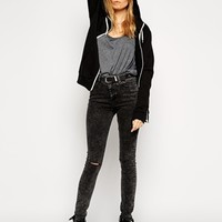 ASOS Ridley High Waist Ultra Skinny Jeans in Smoked Black Acid Wash wi