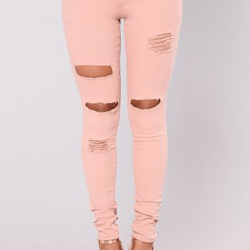I'm Not To Blame Distressed Jeans - Mauve