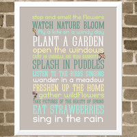 Spring Art - 11x14 Seasonal Activities Typography Print  - Rain Gray and Spring Pastels - Spring Typography Art - Activity List