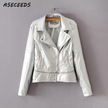 Long sleeve silver leather jacket women zipper coat casual fashion korean clothes 2018 chaquetas invierno mujer