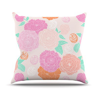"Anneline Sophia ""Peonies Pink"" Peach Teal Throw Pillow"
