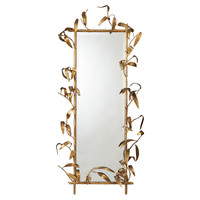 Mirrors, Bamboo Oversize Mirror, Gold, Wall Mirrors