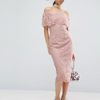 ASOS Lace Bardot Midi Pencil Dress at asos.com
