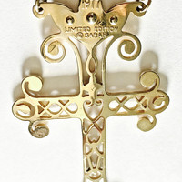 Vintage 1977 Sarah Coventry Filigree & Pearl Cross Pendant, Limited Edition Sarah Coventry Cross, Large Goldtone Cross Necklace