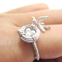 Sparrow and Bird Nest on A Branch Wrap Around Adjustable Ring in Silver