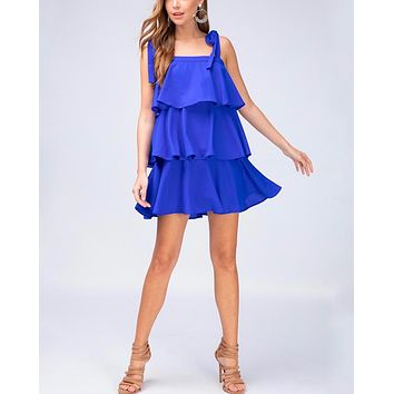 Tiered Ruffle Square Neck Mini Dress in Royal Blue