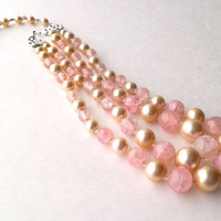 Two Strand Necklace Faux Pearl with Crackle Glass Beads