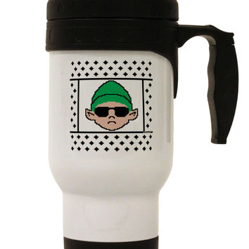 Cool Elf Christmas Sweater Stainless Steel 14oz Travel Mug