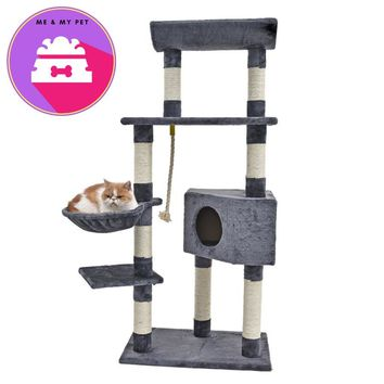 Cat Scratching with Hammock Wood Climbing Tree Cat Toy Scratching Post Frame With Bowl Pet House Kitten Training Product