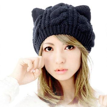 ESBUNT New Fashion Women's Autumn Caps Cat Ear Cute Knitted Hip Hop Casual Warm Men Winter Hat Female Skullies Beanies #CAP6A39