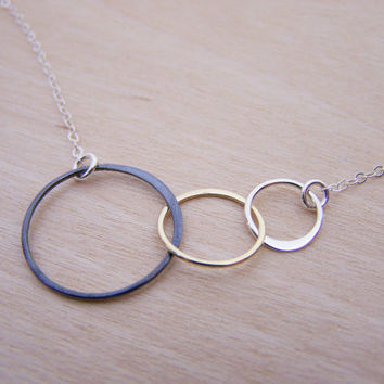 Dainty Triple Infinity Circle Link Oxidized Vermeil Sterling Silver Necklace / Gift for Her