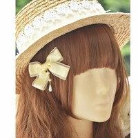 Princess sweet lolita straw hat Classic all-match million with a pearl based Lace Bow Hat Lolita Dress Accessories MHT009