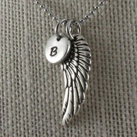 Angel wing Charm-hand stamped necklace-Personalized Necklace-Personalized Miscarriage Nekclace-Baby Memorial Jewelry-Mothers Day Gift-Friend