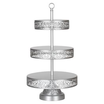 3-Tier Vintage Reversible Dessert Cupcake Stand (Silver)