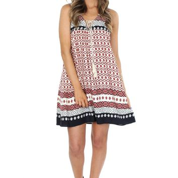Woven Print Lace-Up Tank Dress