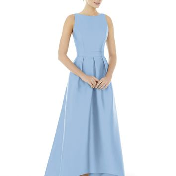 Alfred Sung by Dessy D706 Tea Length Sateen Twill High Low Bridesmaid Dress