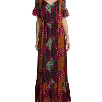 Jane Ethnic Collage Silk Maxi Dress, Red, Size: