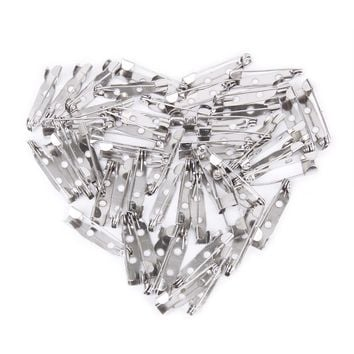50 pcs/lot Brooch  Back Bar Pins Findings Jewelry Making Handmade DIY Gifts For Women Men White K Tone Iron Metal 20mm