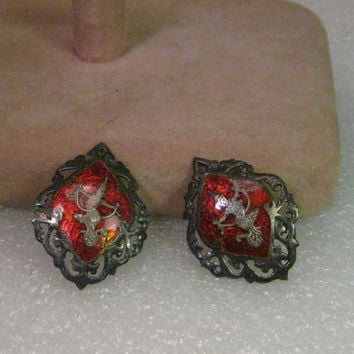 Vintage Siam Clip Earrings, Red Enamel, Sterling Silver,  Cut Out Border
