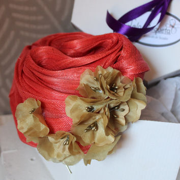 Orange Fascinator Hat,Fashion Turban Women, Wedding Turban Flowers, Orange Headpiece with Gold Flowers