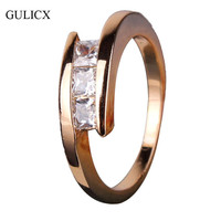 GULICX Brand Fashion White Crystal 18K Gold Plated Ring Trendy Princess CZ Cubic Zirconia Wedding Ring For Women Jewelry R079