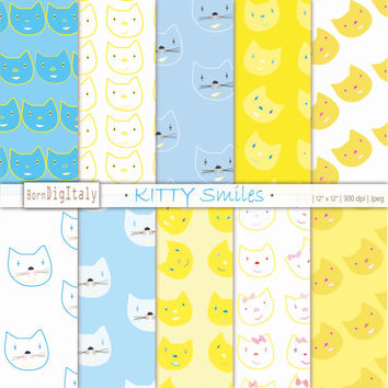 Digital Paper Digital Scrapbook Paper Pack Kittens Pattern Digital Background Cat Pattern Blue Paper Yellow Paper _Personal + Commercial Use