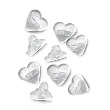 Heart-Shaped Rubber Pin Backs - Glitter (Set of 9)