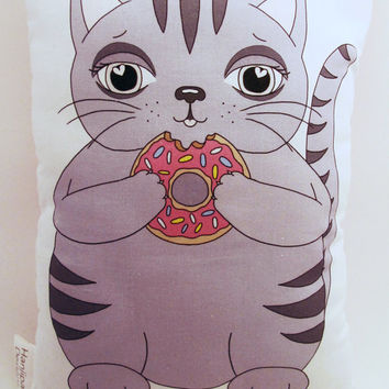 Cat Cushion Cat Softie Donut Pillow Grey Cat Toy Illustration Pillow Cute Geekery Gift Nursery Decor Pink Doughnut