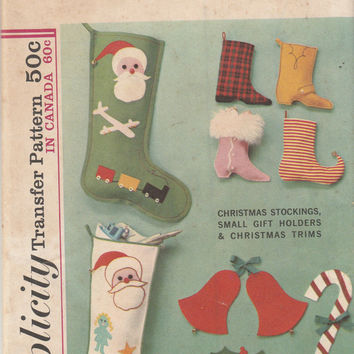 Simplicity 6252 Christmas Transfer Pattern Uncut Holiday Stockings Small Boot Gift Holders and Christmas Trims Holly Bells Candy Cane Decor