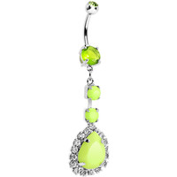 Light Green Neon Gem Teardrop Dangle Belly Ring | Body Candy Body Jewelry