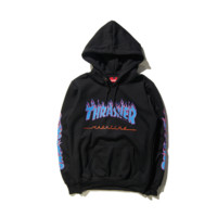 Street tide brand Supreme embroidery stamp couple loitering hooded sweater coat Black
