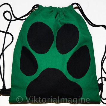 Green string backpack with animal footprint. Green drawstring backpack bag with animal footprint