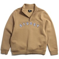 Quarter Zip Mock Neck Jacket Tan