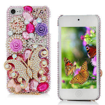 Colorful Diamond Butterfly Luxury Case For Apple iPod Touch 6 Bling Rhinestone Crystal Hard Plastic Back Cover