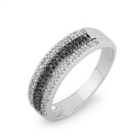 Sterling Silver Round Diamond Black and White Anniversary Ring (1/4 cttw)