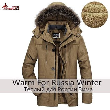UNCO&BOROR plus size 5XL 6XL new brand warm winter jackets men Thicken Long Cotton Padded fleece Down parka coat men clothing