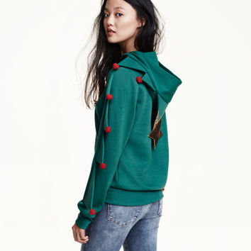 Christmas Tree Hooded Top - from H&M