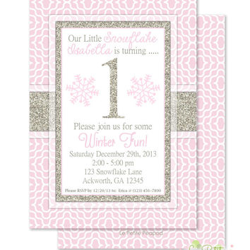 "Pink Winter Onederland Invitations - Personalized 5 x 7"" - Double-Sided and Printed Birthday Invitations - Winter Wonderland Party"