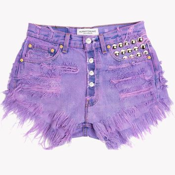 450 Purple Studded High Waist Vintage Shorts